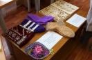 Работы, представленные на выставке творческих работ инвалидов:  Галина Маёрова «Прихватки, носки, тапочки» (вязание, шитье)