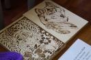 Работы, представленные на выставке творческих работ инвалидов:  Юрий Лопатин «Панно», «Волк» (пирография: выжигание по дереву)
